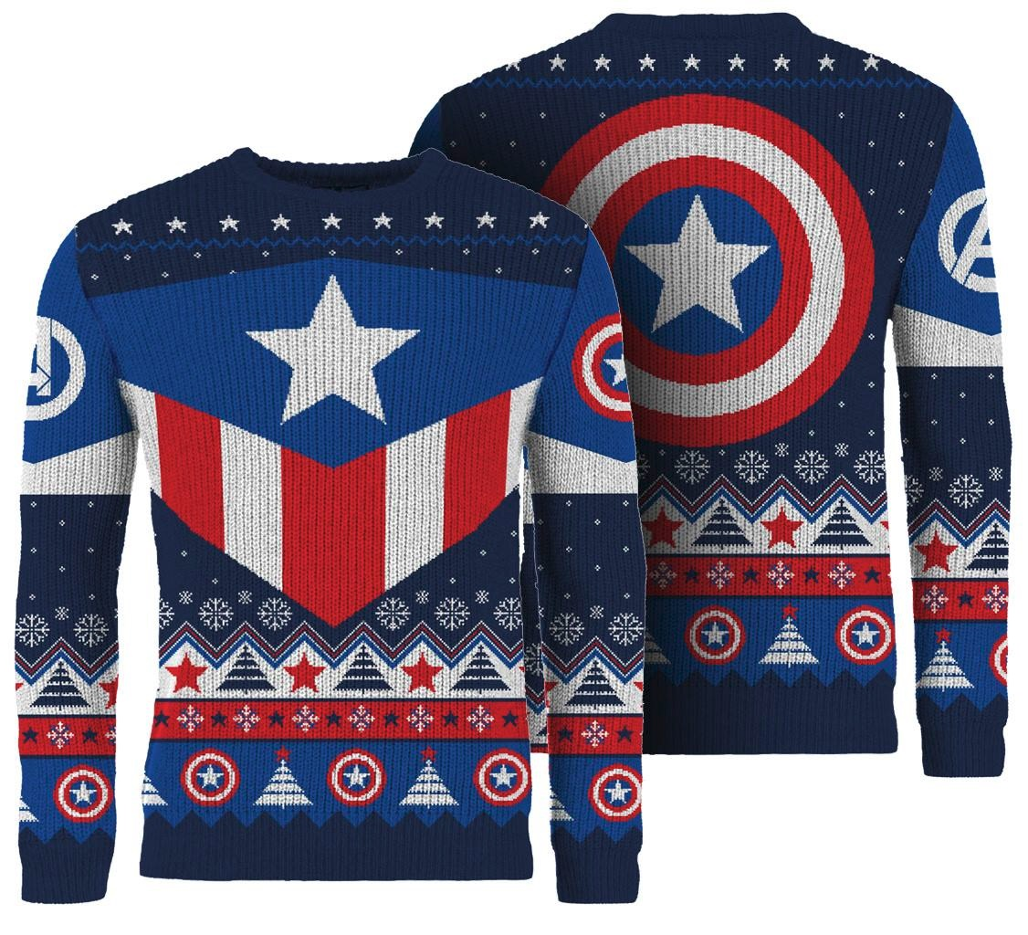 Christmas Jumpers.Captain America Red White And Blue Knitted Christmas Sweater Merchoid